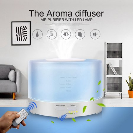 700ml Remote Control Aroma Humidifier Remote Oil Diffuser Control Home Appliances Colorful Fragrance Lamp Ultrasonic Air Humidifier ()