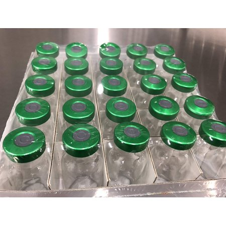 Jazz Labs 10ml Sterile Vials 25pk with Green Aluminum Seals and Grey Butyl Stoppers Sterility Tested