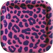 "7"" Square Pink Leopard Print Paper Dessert Plates, 15ct"