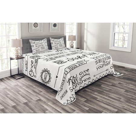 Adventure Bedspread Set, Various Quotes on Happiness and Self Value Uplifting Phrases Being Who You Are, Decorative Quilted Coverlet Set with Pillow Shams Included, Black White, by Ambesonne