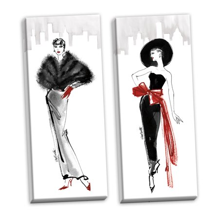 Gango Home Decor Glam Fifties Fashion I Red Gloves & Fifties Fashion IV Red Scarf by Anne Tavoletti (Ready to Hang); Two 8x20in Hand-Stretched Canvases - Fifties Theme