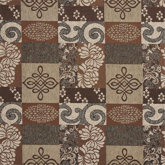 54 in. Wide Brown And Beige, Large Scale Chenille Upholstery Fabric