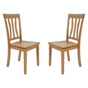 TTP Furnish Solid Wood Sturdy Dining Chair / Modern Kitchen Chair, Oak (Set of 2)