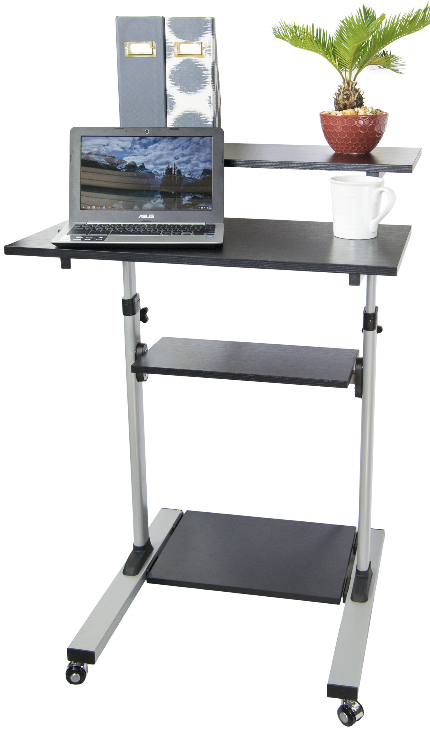vivo mobile height adjustable stand up desk computer work station cart cartv02d walmartcom - Adjustable Stand Up Desk