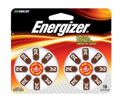 Energizer AZ312DP-16 Hearing Aid Ez Turn & Lock Batt Size 312 16-pk Zero Mercury by Energizer