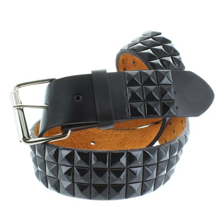 Faddism Men's Genuine Leather Black Pyramid Studded Belt Large - Pyramid Stud Belt