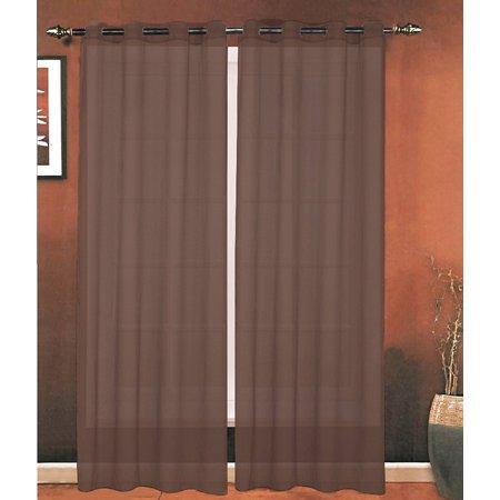Celine Linen® Luxury 2-Piece Grommet SHEER PANEL/CURTAIN - Window Curtains 54-inch width X 63-inch Length - Chocolate Brown - image 1 de 1