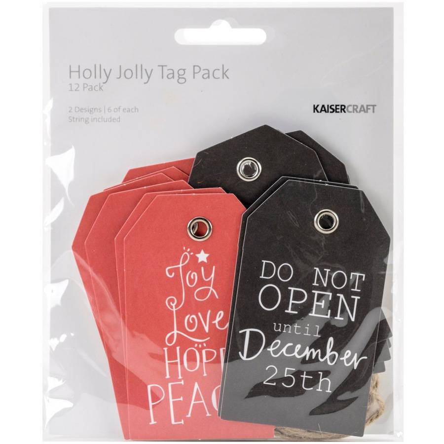 "Holly Jolly Tags with String, 2"" x 3.25"", 12pk, 2 Double-Sided Designs, 6 Each"