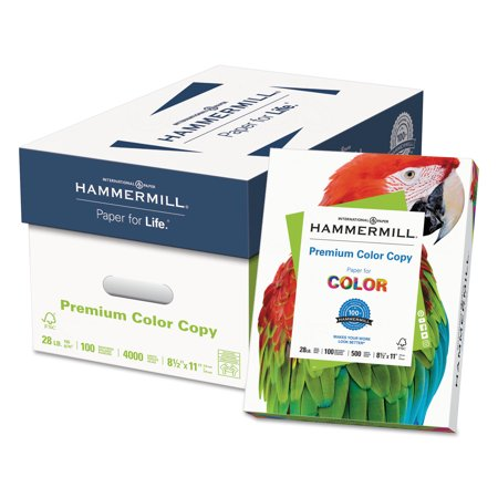 - Hammermill Premium Color Copy Paper, 100 Bright, 28lb, Letter, Photo White, 500 Sheets/Ream -HAM102467