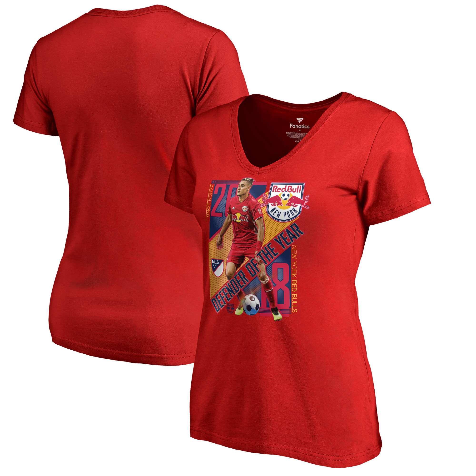Aaron Long New York Red Bulls Fanatics Branded Women's 2018 MLS Defender of the Year V-Neck T-Shirt - Red
