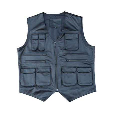 ARD CHAMPS Genuine Cow Leather Mens Vest Fishing Photography Vest With Many Pockets, Color Black, Size 2XL - Woody Cow Vest
