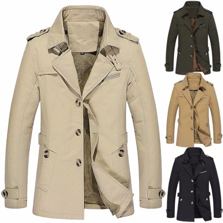 PODOM L-5XL Men Jacket Fashion Winter Warm Fleece Single-breasted Military Sticken Coat Trench Parka Windbreaker Jacket,Khaki color
