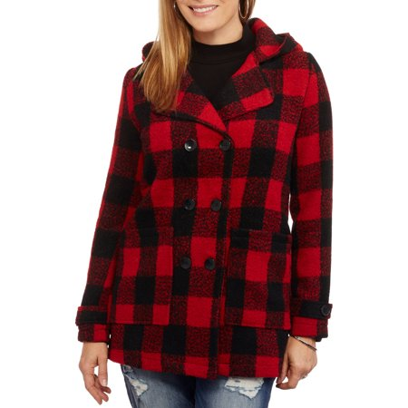 - Maxwell Studio Women's Hooded Plaid Cape With Faux Leather Buckle Details