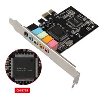TSV PCIe Sound Card for PC Windows 10, PCI Express Desktop Sound Adapter with Low Profile Bracket, 3D Stereo PCI-e Audio Card, CMI8738 Chip 32/64 Bit Sound Card for Windows XP / 7/8
