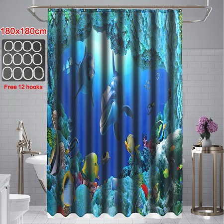 Application: bathroom, toilet, room, etc*Shower curtain DescriptionMaterial: PolyesterPattern: Dolphin OceanSize: 180 x180cmType:Shower curtainFeatures:● Easy to clean,● Anti-rust metal butt - image 2 de 6