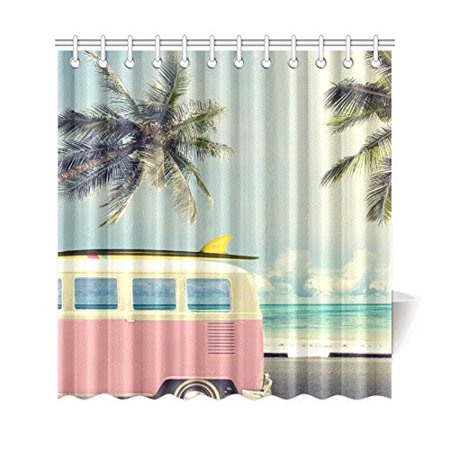 BPBOP Tropical Beach Shower Curtain Vintage Car Palm Tree Polyester Fabric Bathroom Sets 66x72 Inches