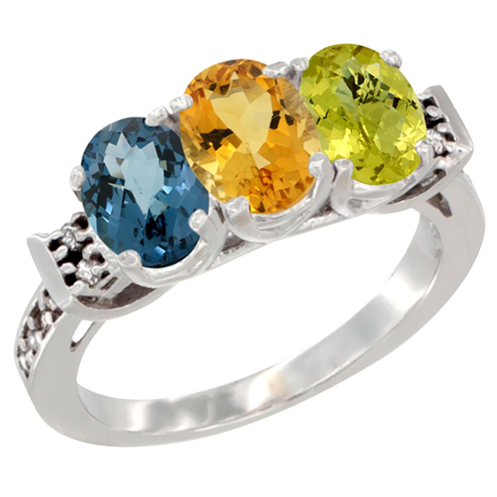 10K White Gold Natural London Blue Topaz, Citrine & Lemon Quartz Ring 3-Stone Oval 7x5 mm Diamond Accent, sizes 5 10 by WorldJewels