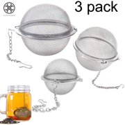 Luxtrada 3 Pack Piece Set Stainless Steel Mesh Tea Ball Tea Infuser Strainers Tea Strainer Filters Tea Interval Diffuser for Tea (3 Pack Different Sizes)