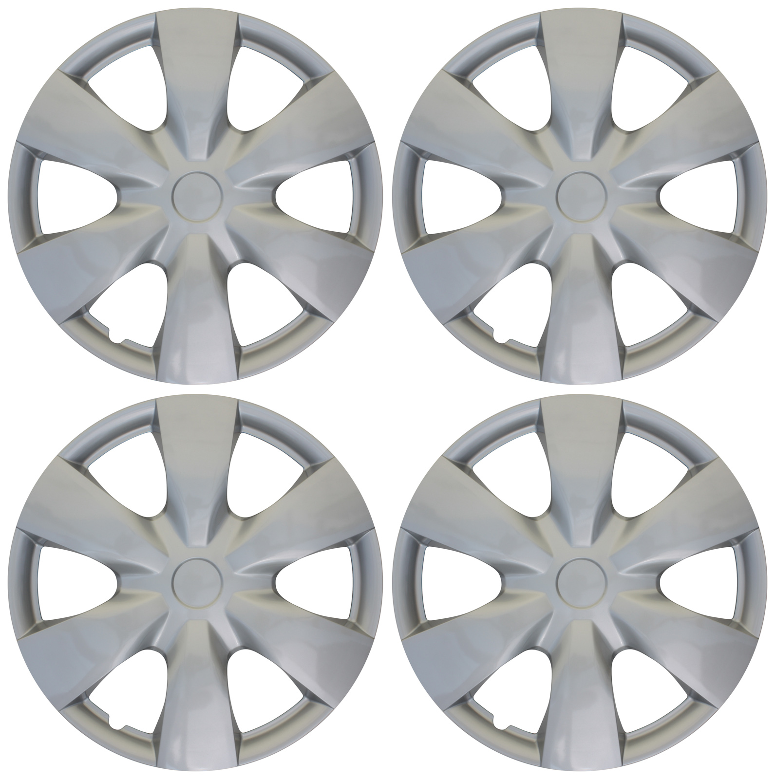 """Set of 4 Aftermarket Toyota Yaris Replica Hub Caps ABS Silver 15"""" Inch Universal Wheel Covers"""