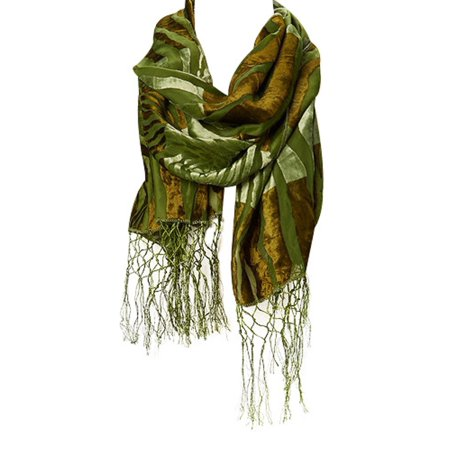 - Amtal Women Safari Animal Design Velvet Silk Burnout Oblong Scarf w/Tassels