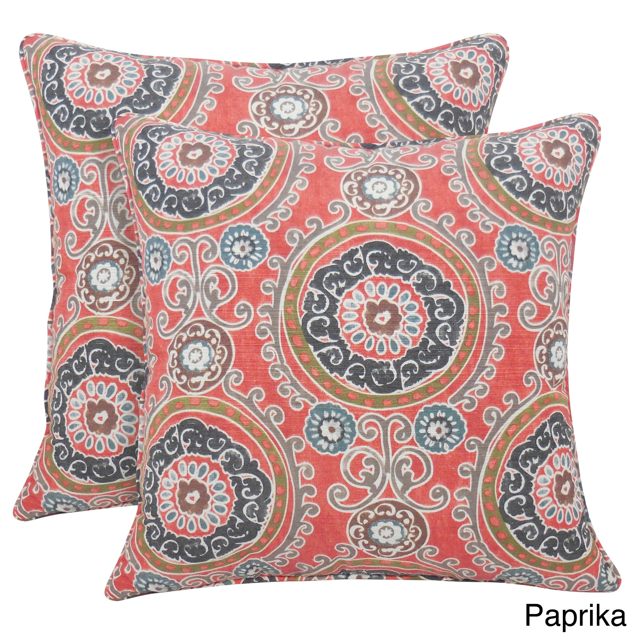 Arlee Tamariz Printed Medallion 20-inch Toss Pillow (Set of 2) Paprika