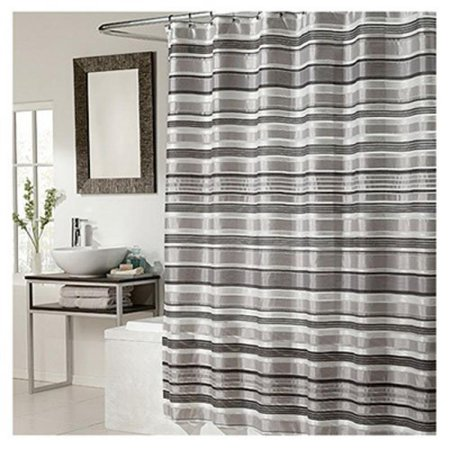 Ex-Cell Glacier Pieced Shower Curtain, 70 by 72-Inch, Black Silver