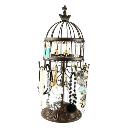 Birdcage Earring Organizer Rotating Necklace Display Stand Classic Metal Bracelet Hanging Jewelry Tree Show Tower for 100+ Earrings Necklaces Bracelets Antique Brown ()