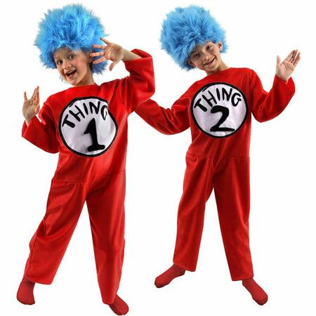 Dr. Seuss The Cat in the Hat Thing 1 and Thing 2 Child Halloween Costume (Painting A Cat Face For Halloween)