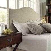 iNSPIRE Q Blanchard Nailads Camelback Beige Linen Upholstered King-size adboard ny  Bold