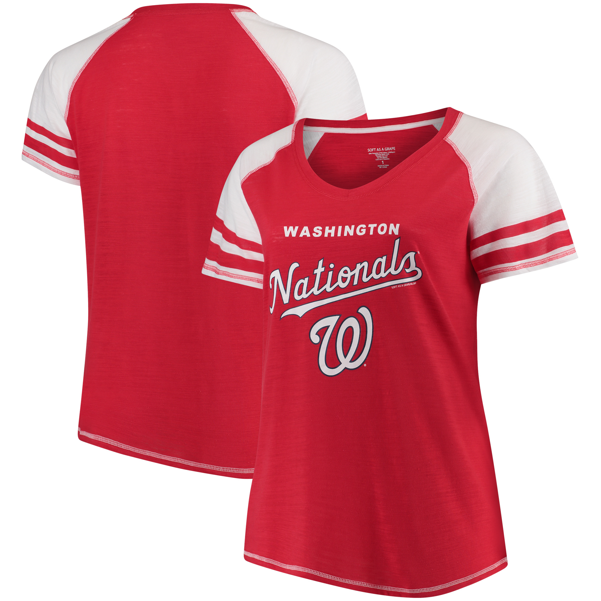 Washington Nationals Soft as a Grape Women's Plus Sizes Three Out Color Blocked Raglan Sleeve T-Shirt - Red