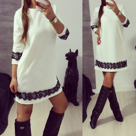 White Lace Women Casual Cocktail Dress Ladies Evening Party Tunic Mini Dresses (White Casual Dress)