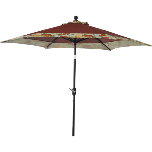 Better Homes and Gardens 9' Round Umbrella, Floral Border