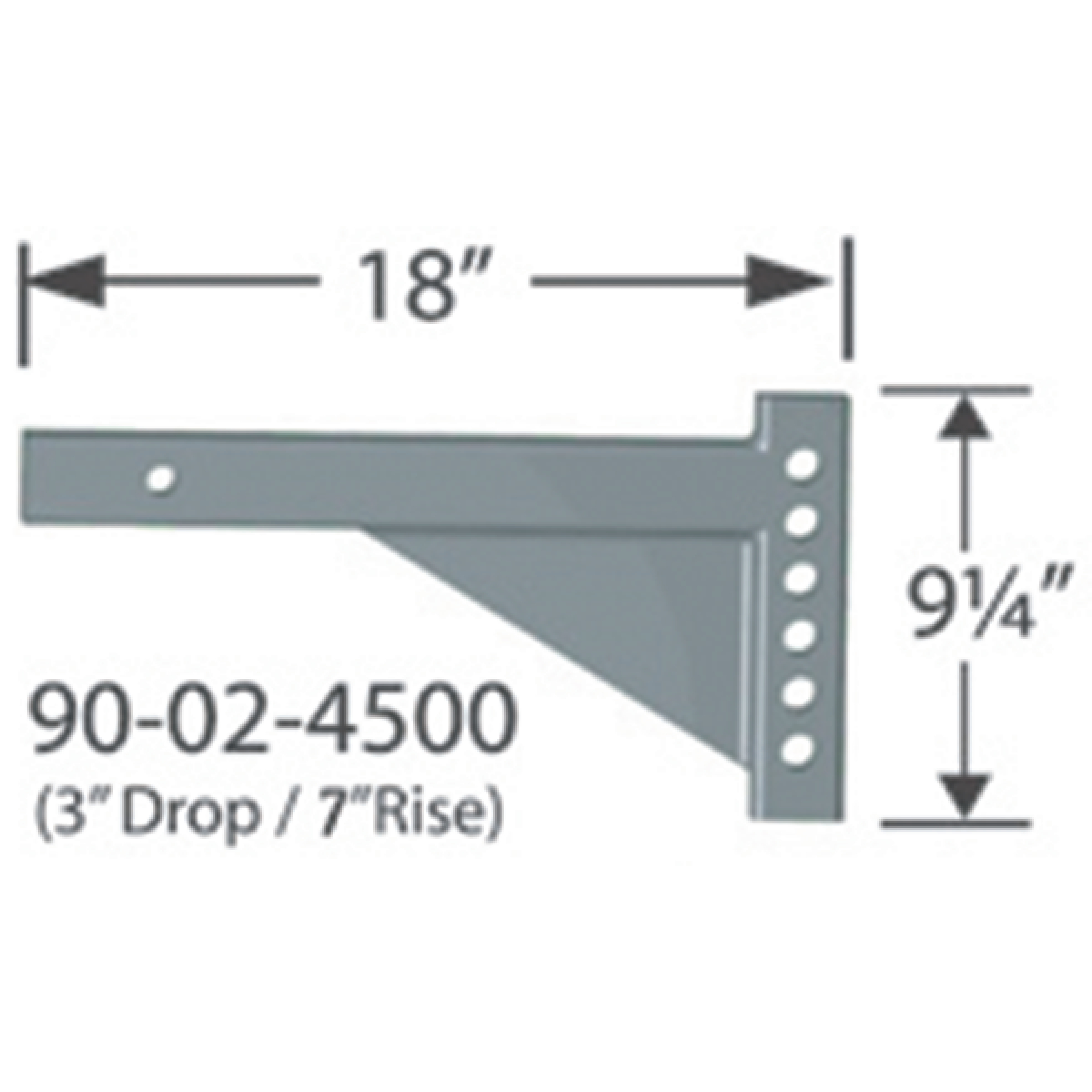 "Progress Mfg 90-02-4500 Equal-i-zer 2"" Adjustable RV Shank - 3"" Drop, 7"" Rise & 18"" Length (T18)"