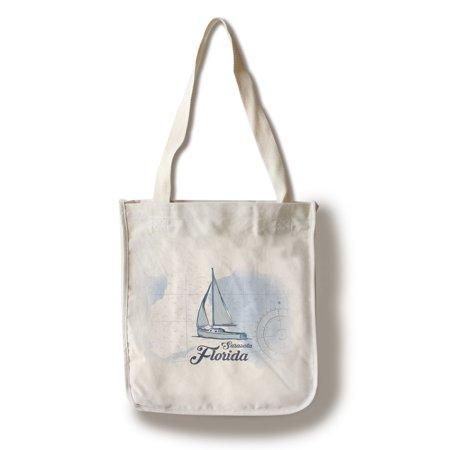 Sarasota, Florida - Sailboat - Blue - Coastal Icon - Lantern Press Artwork (100% Cotton Tote Bag - (Sarasota Women)