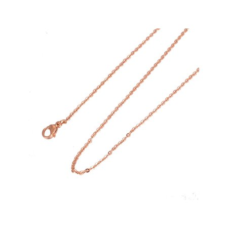 Women's 316L Stainless Steel Rose Gold Flat Cable Chain Necklace 18'' (316l Stainless Steel Dolphin)