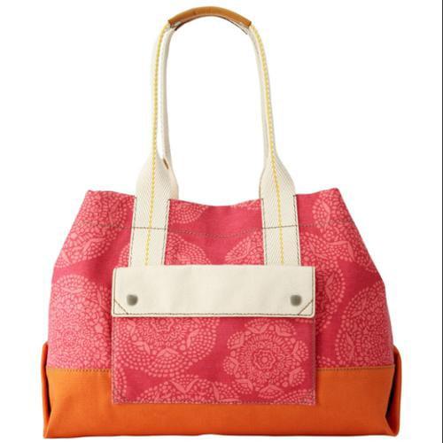 Fossil Flamingo Pink Canvas Lena Tote Bag