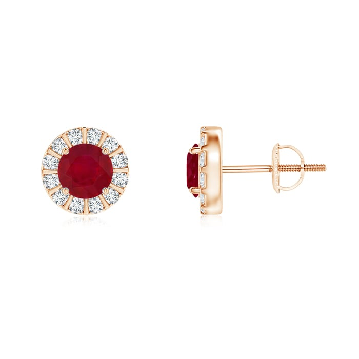Angara Bar Set Round Diamond Halo Citrine Stud Earrings in Rose Gold pzjWDHz1s5