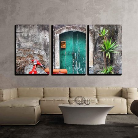 3 Piece Scooter - wall26 - 3 Piece Canvas Wall Art - Photo of Red Scooter near Green Door and Palm - Modern Home Decor Stretched and Framed Ready to Hang - 24