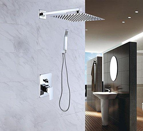 """Buy-Hive 10""""/12"""" Shower Combo Set Wall Mounted Rainfall Top Shower Head System Handheld Mixer Tap"""