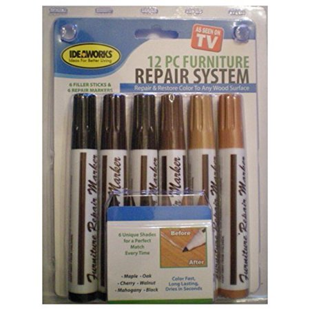 Total Furniture Repair System 12 Pcs Scratch Restore   Repair Color To Any Wood Surface
