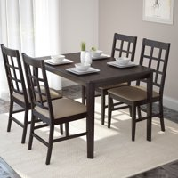 CorLiving Atwood 5-Piece Dining Set with Taupe Stone Leatherette Seats, Cappuccino