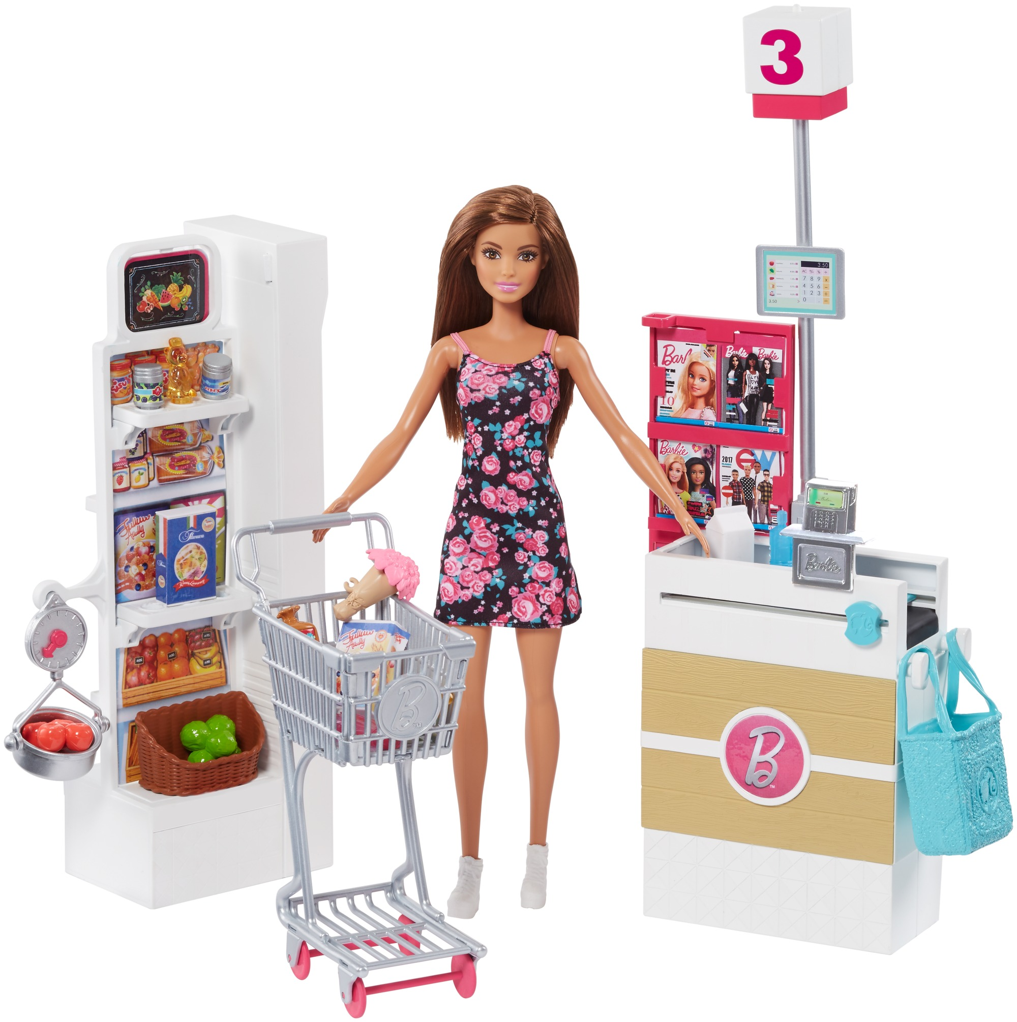 Barbie Supermarket Playset, Brown Hair by Mattel