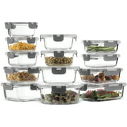 Superior Glass Food Storage Containers Set 24-Piece - Newly Innovated Hinged BPA-free Locking lids - 100% Leak Proof Glass Meal Prep Containers, Great on-the-go & Freezer to Oven Safe Food Containers