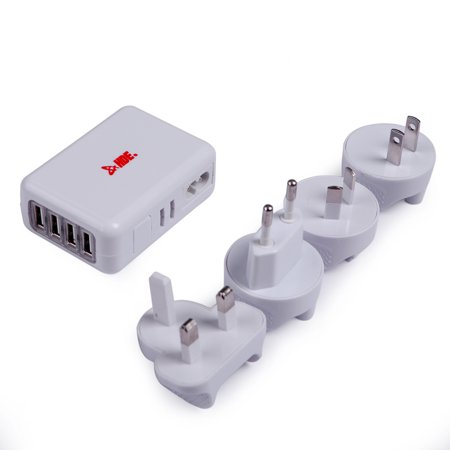 HDE Universal Worldwide AC to USB Travel Power Adapter All in One International Wall Plug Electronics Charger (White)