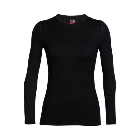 Icebreaker Women's Bodyfit Midweight Long Sleeve Crewe, Black