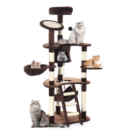 "AUGIENB 62"" Cat Tree Tower Condo Furniture Pet Kitty Play House  Scratching Posts Cat Climbing Tower with Plush Perches, Hammock and Condo, Cat Tower Furniture, Beige"