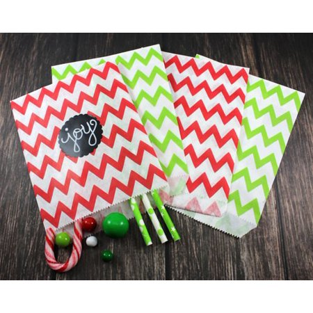 Charmed X'mas Chevron Prints Paper Candy Bags; Red/Green; 50 pieces](Printed Paper Bags)