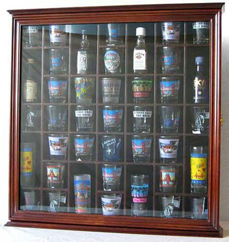 41 Shot Glass Display Case Holder Cabinet Wall Rack With Glass Door, Walnut  Finish