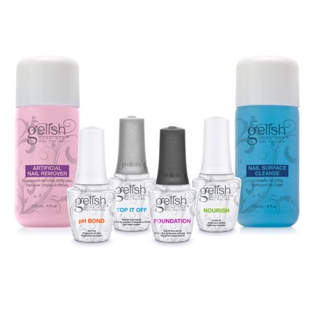 Gelish Soak Off Gel Nail Polish Basix Care Kit, 15 mL with Remover and