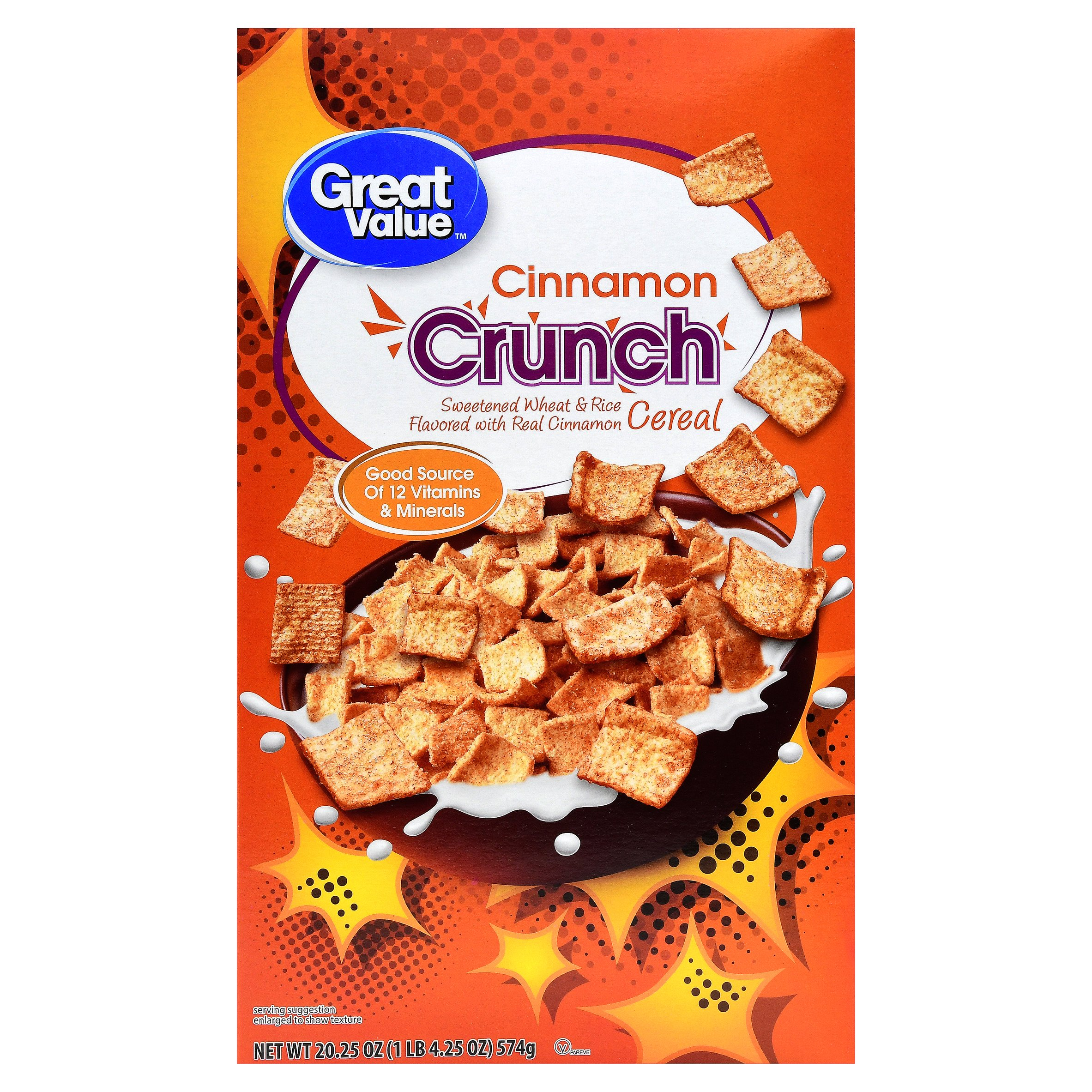 Great Value Wheat & Rice Breakfast Cereal, Cinnamon Crunch, 20.25 Oz